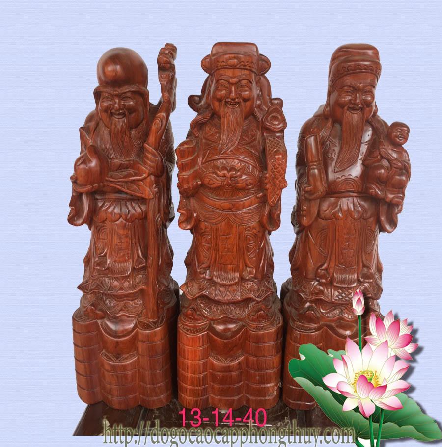 Tượng phong thủy bằng gỗ Phúc - Lộc - Thọ